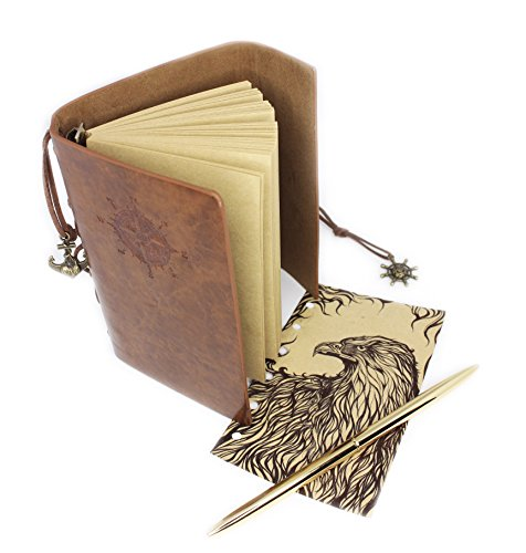 Vintage Journal Notebook - Best for Writing - Bound Notebook with Gold Colored Pen - Premium PU Leather - Artist Sketchbook - Daily Notepad - A Novel Gift - by Hieno Supplies