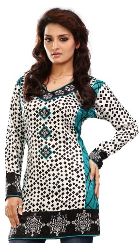 Long India Tunic Top Womens Kurti Printed White Blouse Indian Clothing – S…Bust 34 inches, White 2