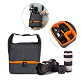 Camera Equipment Bag Case, WU-MINGLE Waterproof Multifunctional Bag for Mirror Lens , Micro 4/3 with Top Loading Accessibility,Adjustable Shoulder Sling-Nylon Grey