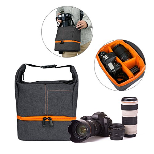 Camera Equipment Bag Case, WU-MINGLE Waterproof Multifunctional Bag for Mirror Lens , Micro 4/3 with Top Loading Accessibility,Adjustable Shoulder Sling-Nylon - Canon Waterproof Case Weight
