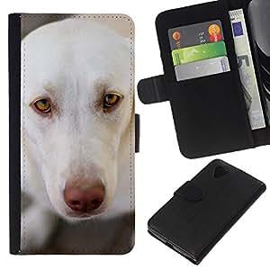 eJoy---La carpeta del tirón la caja de cuero de alta calidad de la PU Caso protector - LG Nexus 5 D820 D821 - --White Brown Nose Labrador Retriever
