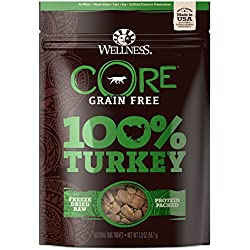 Wellness Natural Pet Food Core Grain Free 100-Percent Turkey Freeze Dried Dog Treats, 2 Oz