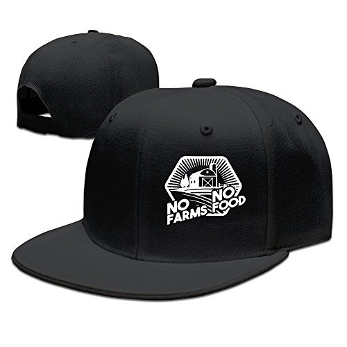 Casual Men Women Farmer No Farms No Food Flat Ajustable Snapback Cap Black
