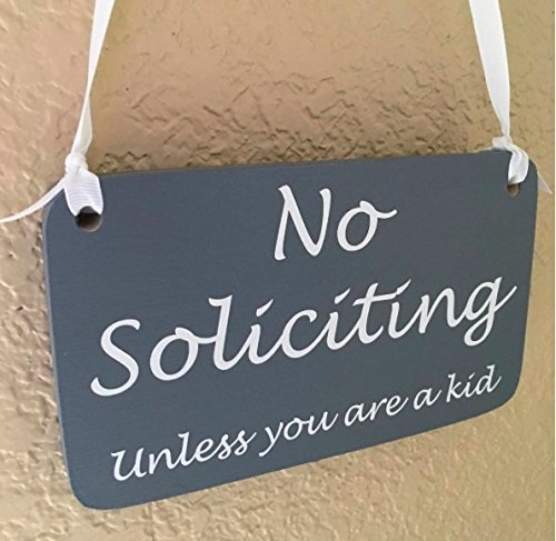 No soliciting Unless you are a kid hanging sign with Ribbon – Handmade in USA -Solid poplar wood Cute little signage for home or business.