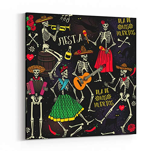 Rosenberry Rooms Canvas Wall Art Prints - Seamless Pattern with Skeletons Day of The Dead Dia De Los Muertos The Skeleton Dance (10 x 10 inches) ()