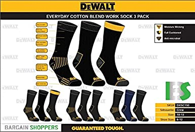 Amazon.com: DEWALT 3 Pair Everyday Cotton Blend Work Crew Sock (Black),10-13: Electronics