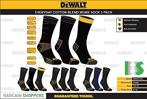 Amazon.com: DEWALT 3 Pair Everyday Cotton Blend Work Crew Sock (Black),10-13: Electronics