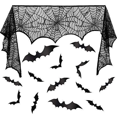 Leinuosen Halloween Fireplace Spiderweb Lace Mantle, Black Spooky Fireplace Scarf Cover 18 x 96 Inch with 24 Pieces DIY 3D Scary Bat Wall Stickers for Halloween Decorations Party Supplies -