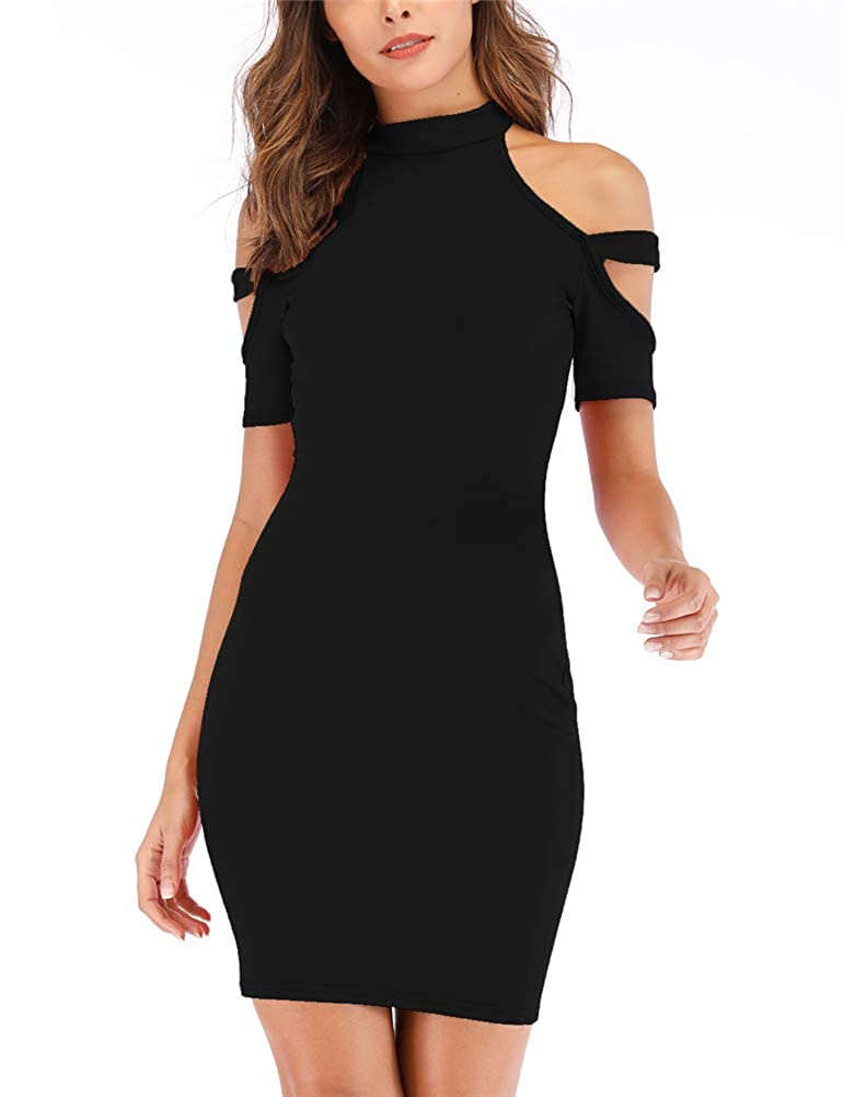 Black Women's Clod Shoulder Short Sleeve Bodycon Turtleneck Casual Pencil Elegant Club Dress