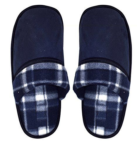 Peach Couture Mens Fleece Lined Relaxing Nordic Style House Slippers Navy Plaid 3 nhf87Q