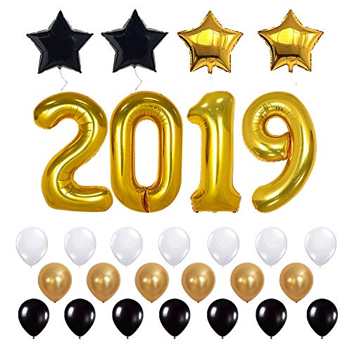 Trooer 28 Pcs 2019 Graduation Balloons Kit - Large Black, Gold and off White Mylar Foil and Latex Ballonsfor Graduation Party Supplies]()