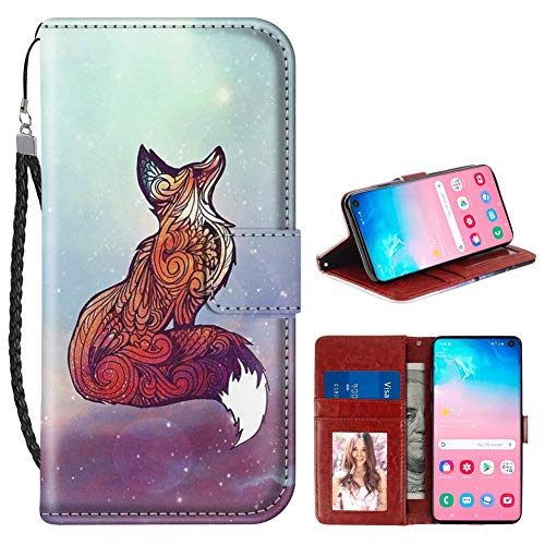 Fox Phone Strap - Samsung Galaxy S10 Wallet Case Space Fox PU Leather Card Holder Phone Cover with Kickstand Wrist Strap for Space Fox Samsung Galaxy S10 Case