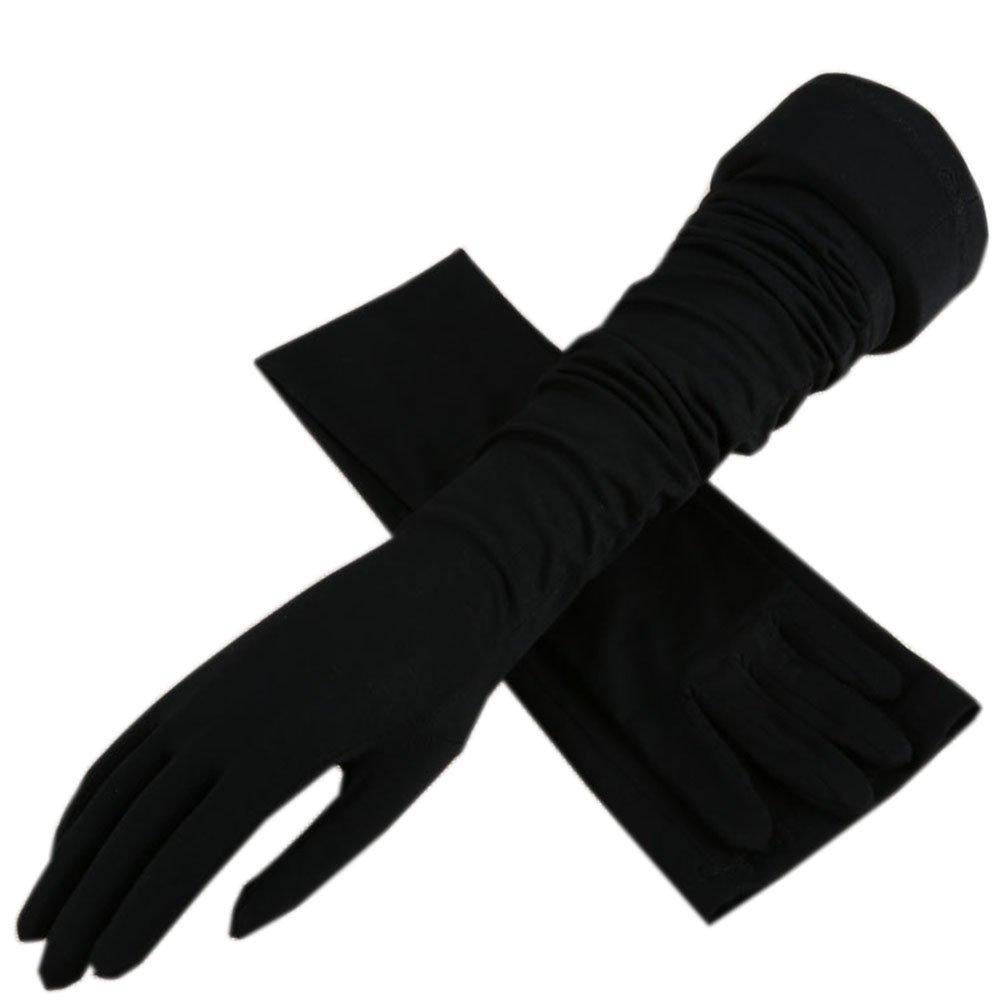 Summer Full-finger Sun Protection Gloves Riding Driving Thin Long Women UV Protection Sun Gloves (Black)