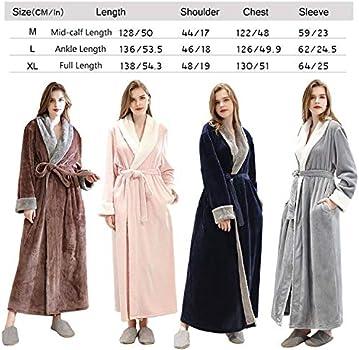 Women Plus Size Long Warm Flannel Bathrobe Winter Bath Robe