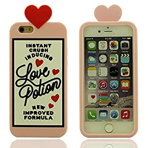 "Creativo Poción de amor Botella Diseño, Suave Silicona Gel Hermosa Rosa Funda Protectora para iPhone 6S Plus 5.5"" & iPhone 6 Plus 5.5"", Protective Case Carcasa Protectora Anti choque"