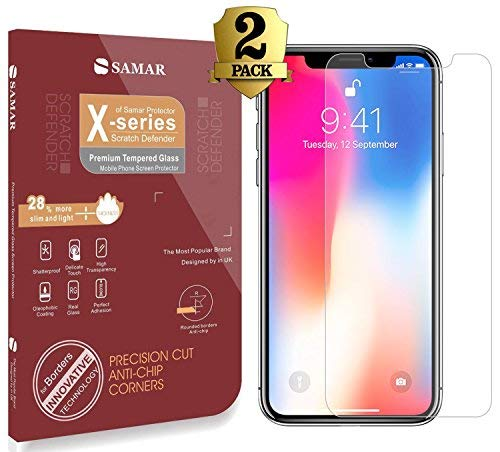SAMAR - Apple iPhone X Premium Quality [2 in Pack] Tempered Glass Screen Protector - Ultra Lightweight Rounded [Case Friendly] Edge Harder than a knife for iPhone 10 – with Lifetime Replacement