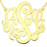 """10KY-Mono150 10K Yellow Gold(1.5""""x0.4mm thin)3-initial Monogram Necklace"""