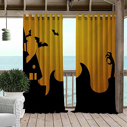 Linhomedecor Patio Waterproof Curtain Halloween Castle Bat Multicolor Porch Grommet Free Curtains 108 by 84 inch -
