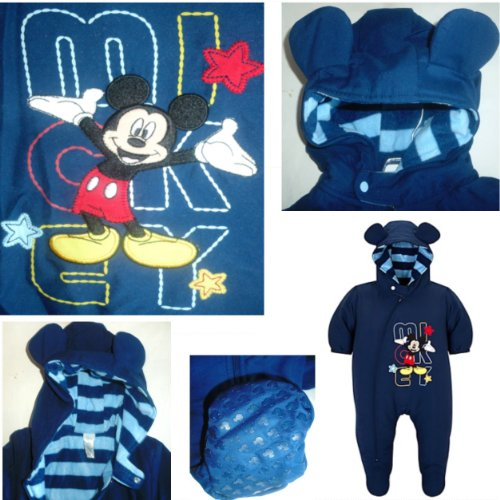 DISNEY MICKEY MOUSE SNOWSUIT BABY INFANT Appliques Fleece Lined Non Skid Feet Hood with Mickey Mouse Ears