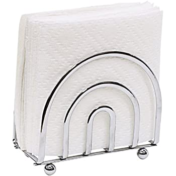 Home Basics Paper Napkin Holder/ Freestanding Tissue Dispenser For Kitchen Countertops, Dining Table, Picnic Table, Indoor & Outdoor Use, Durable Storage and Organization Option (Chrome)