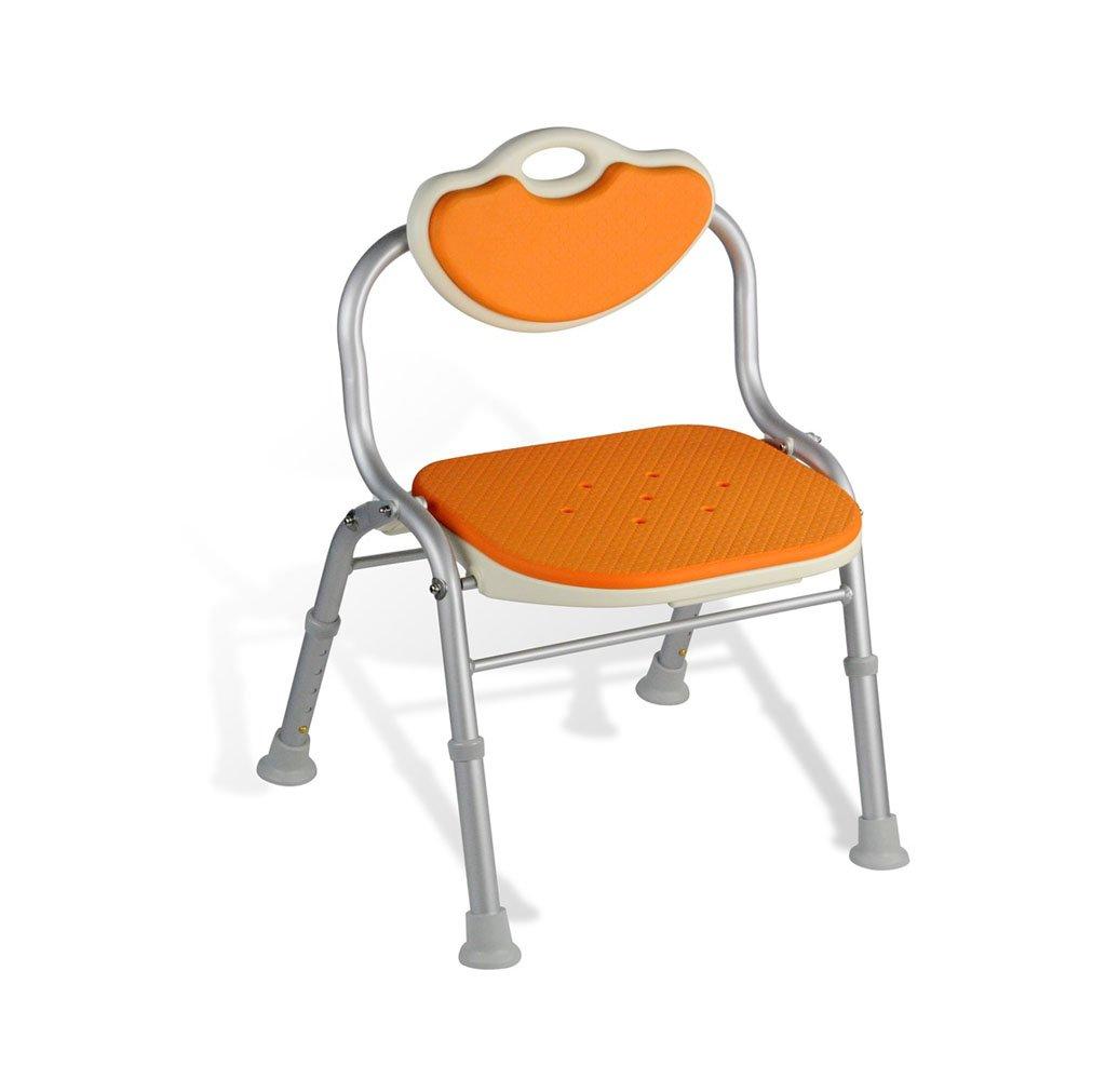 【驚きの値段で】 安全快適背もたれ折りたたみ式バスチェア高齢者/身体障害者/妊娠可能な調節可能な高さアルミ合金バススツール滑り止めチェアMax。 80kg(オレンジ)   B07FLZLN15, 蓬田村:745451d6 --- ciadaterra.com