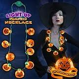 LED Light Up Halloween Pumpkin Jack O Lantern Necklace Party Favors