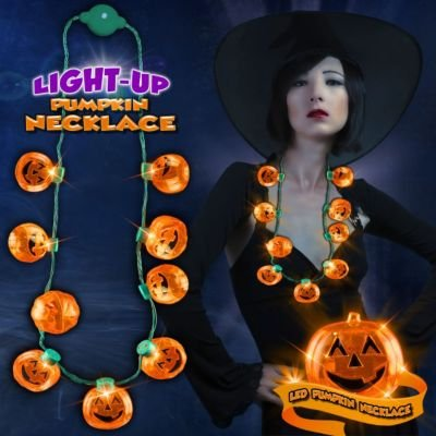 [LED Light Up Halloween Pumpkin Jack O Lantern Necklace Party Favors] (Halloween Accessories)