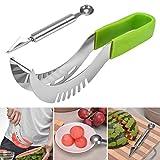 Premium Watermelon Slicer Cutter Set Stainless Fruit Carving Kitchen Utensil Kit (OZ, GRN)