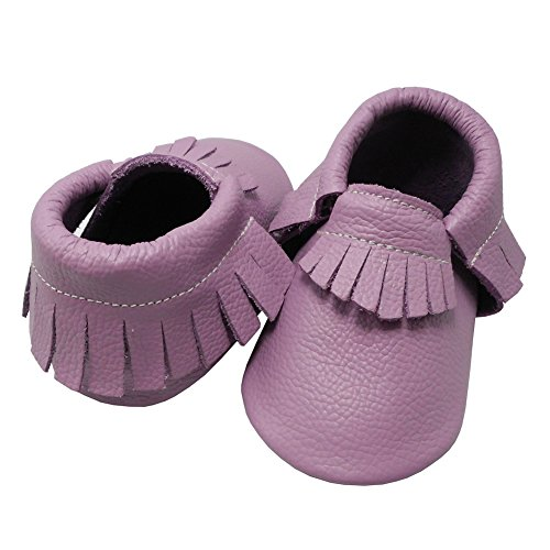 Pictures of YIHAKIDS Baby Tassel Shoes Soft Leather Sole Infant Toddler Moccasins First Walkers Shoes Multi-colors (US 4M (4.5in/3-6Mo.), Light Purple) 6