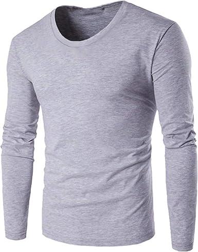 Color sólido de los hombres de manga larga camiseta cuello ...