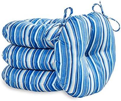 South Pine Porch AM6816S4-SAPPHIRE Sapphire Stripe 15-inch Round Outdoor Bistro Chair Cushion, Set of 4