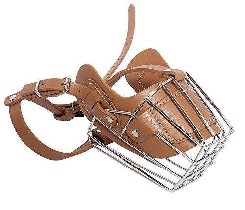 OCSOSO Adjustable Prime Leather and Iron Cage Dog Muzzle Mask, Brilliant Basket Design for Medium or Large Breed Dog (L, -