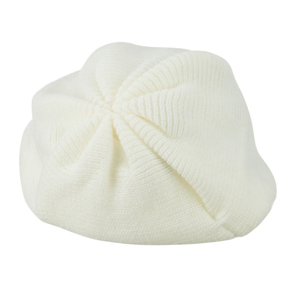 White Cheveux Womens Ribbed Knit Beret