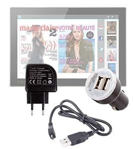 """DURAGADGET-Kit de carga y sincronización micro USB, DURAGADGET-Soporte 3 en 1 para tablets de la serie Carrefour Touch CT 1010W & CT1010 de 10 """", 10,1"""", Android) (USB, incluye cable cargador de pared y para encendedor de coche (), 2 amp 2 años de garantía"""
