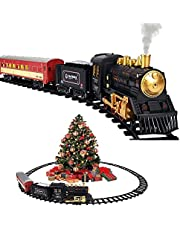 Christmas Train Set for Boys Girls Electric Toy Train Including Passenger Coach with Lights, Steam Locomotive with Realistic Sounds & Headlight, Coal Car, 10 Tracks