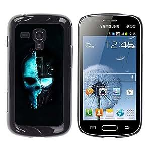 TopCaseStore / la caja del caucho duro de la cubierta de protección de la piel - Blue Techno Techno Skull - Samsung Galaxy S Duos S7562