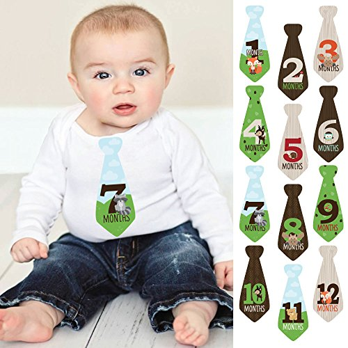Woodland Creatures - Tie Baby Boy Monthly Stickers - Baby Shower Gift Ideas - Necktie 12 Piece (Woodland Tie)