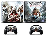 Cosines PS4 Slim Stickers Vinyl Decal Protective Console Skins Cover for Sony Playstation 4 Slim and 2 Controllers Assassin Theif Black Flag