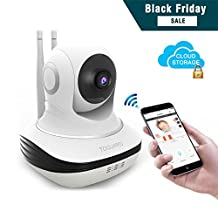 Toguard Wireless Security Camera, HD Wireless Home Surveillance IP Camera WiFi Baby Monitor with Cloud Storage Live Steam Night Vision Pan/Tilt Two way Talk (Free App supports iOS Android)
