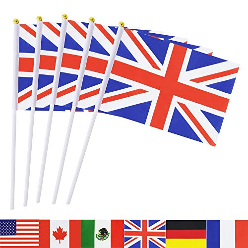 - TSMD British Union Jack Stick Flag, 50 Pack Hand Held Small United Kingdom UK Great Britain National Flags,International World Country Flags Banners for Party Decorations,Sports Clubs,Festival Events