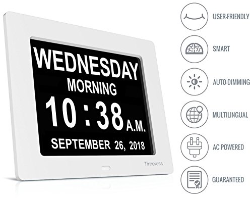 White Photo Wall Calendar - INNOCLOCK - New Advanced Version Calendar Day Digital Clock - Large, Clear, Unabbreviated Time and Date - Ideal for Memory Loss, Impaired Vision and Seniors (White, 8-inch)
