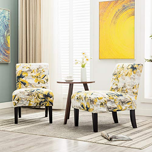Altrobene Morden Armless Accent Chairs, Slipper Side Chairs, Living Room Bedroom Chair, Set of 2, with 4 Pack Thick Jacquard Fabric Removable Washable Slipcovers, Beige & Floral & Yellow