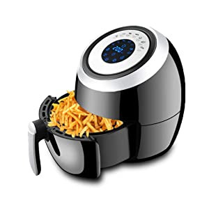 ZHA 1500W Air Fryer, 5.2Qt Electric Hot Air Fryers Oven Oilless Cooker with Detachable Non-Stick Basket & Automatic Timer & Temperature Control for Fast Healthier Fried Food (LCD Touch Screen)