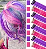 Pink and Purple Wig Pieces for Kids Straight Clip