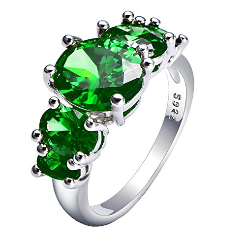 WIBERN Platinum Plated Five Stone Princess Cute Charm Ring for Women (Green, 8) (Rings Green Stone)
