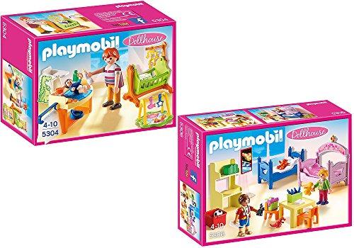 PLAYMOBIL® Puppenhaus 2er Set 5304 5306 Babyzimmer mit Wiege + Buntes Kinderzimmer