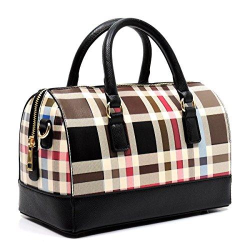 Plaid Tartan Check Top Handle Boston Tote Satchel Handbag (Black)