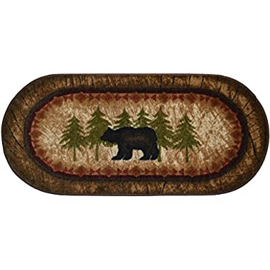 Wholesale Rug Source Cozy Cabin Birch Bear Nonskid (Non Slip) Cute Lodge Kitchen Mat Rug, 20  L x 44  W