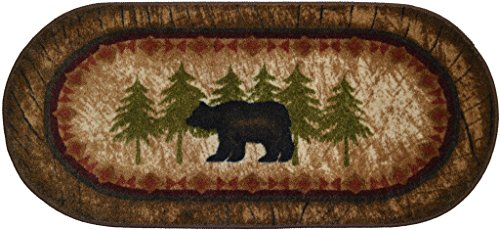 Rustic Black Bear (Wholesale Rug Source Cozy Cabin Birch Bear Nonskid (Non Slip) Cute Lodge Kitchen Mat Rug, 20