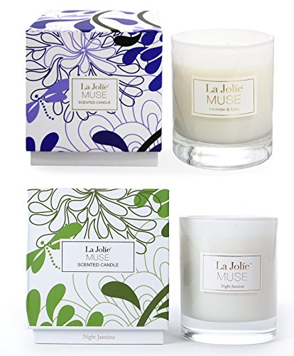 Scented Candles Pack 2 Lavender Lilac and Jasmine,100% Soy Wax, Fine Home Fragrance Candle Gifts